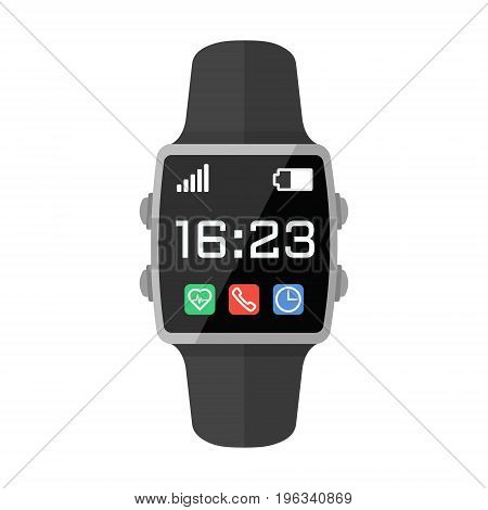 Black smart watch with interface. Flat style vector illustration isolated on white.