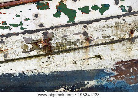 cracked Colorful wood background of fishing boat.