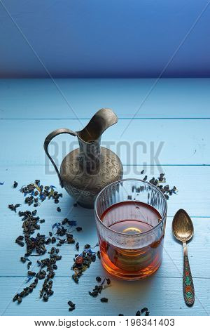 Vertical Shot Shot Of Tea Ceremony With Copy Space