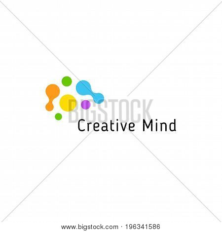 Brain storming business vector isolated logo template. Colorful creative mind logotype connected points. Dots simple logotype