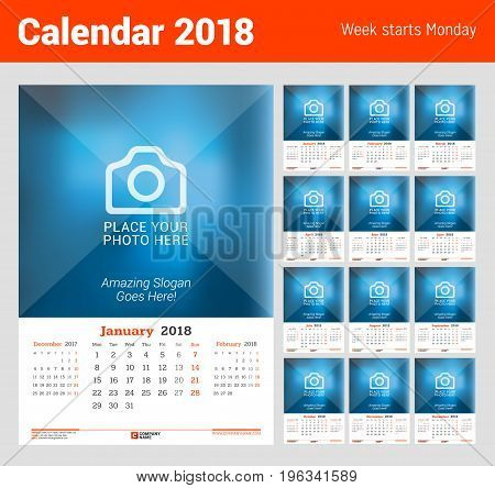 Wall Monthly Calendar For 2018 Year. Vector Design Print Template With Place For Photo. Week Starts