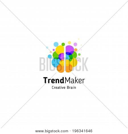 Trend Maker abstract vector logo. Isolated colorful circles bubbles brain shape. Genius creative mind.