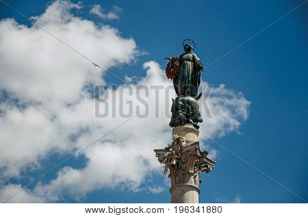 Overview sculpture over the Column of the Immaculate Conception in Rome, the incredible city of the Ancient Era, known as