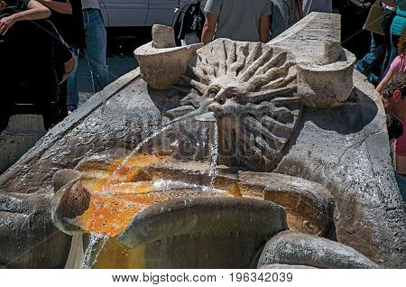 Close-up of Fontana della Barcaccia, a Baroque-style fountain found at Piazza di Spagna in Rome, the incredible city of the Ancient Era, known as