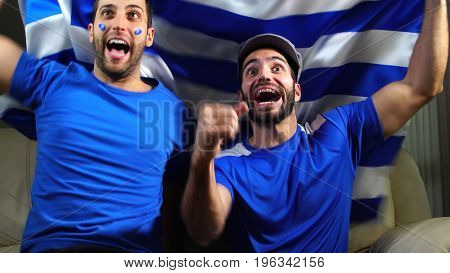 Greek Friends Celebrating with Greece Flag