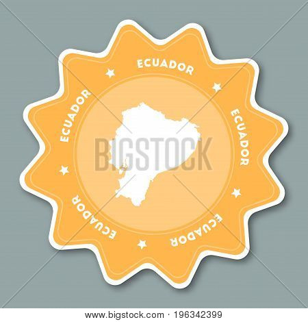 Ecuador Map Sticker In Trendy Colors. Star Shaped Travel Sticker With Country Name And Map. Can Be U
