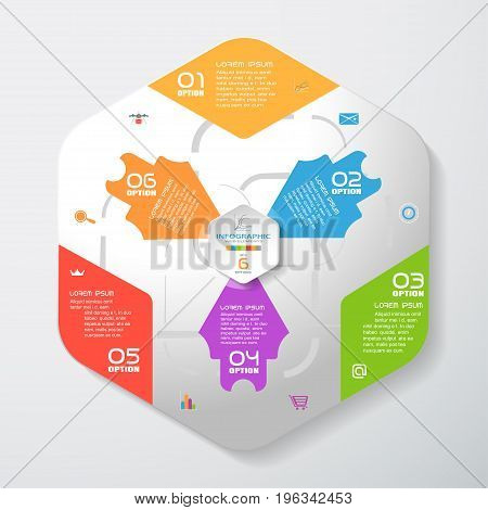 Vector infographic of gradient gray convex hexagonal form with color corners color arrows and concave hexagon cut from paper with shadows text and icons on the gradient gray background.