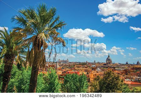 Overview of cathedrals domes, monuments and roofs of buildings in Rome, the incredible city of the Ancient Era, known as