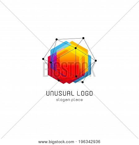 Bright colorful abstract poly construction logotype, unusual innovate design logo template, isolated polygon shape, spiderweb from black lines with dots on corners, illustration on white background.