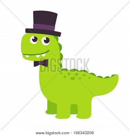 Funny cartoon gentleman dinosaur with top hat and bow tie. Cute vector illustration.