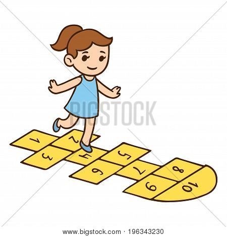 Cute little girl playing hopscotch. Cartoon child vector illustration.