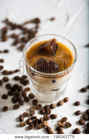 Tasty Iced Coffee  on Rustic Wooden Table