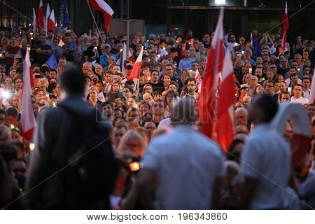 CRACOW POLAND - JUNE 21 2017: Thousands of government opponents protested in Cracow against new judicial reforms and future plans to change the Supreme Court. Cracow. Poland