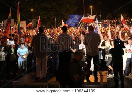 CRACOW POLAND - JULY 21 2017: Thousands of government opponents protested in Cracow against new judicial reforms and future plans to change the Supreme Court. Cracow. Poland