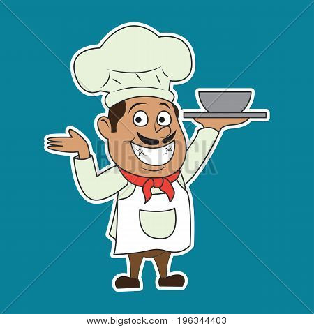 chef man with the toque holding a dish ready to serve. cartoon character. vector illustration