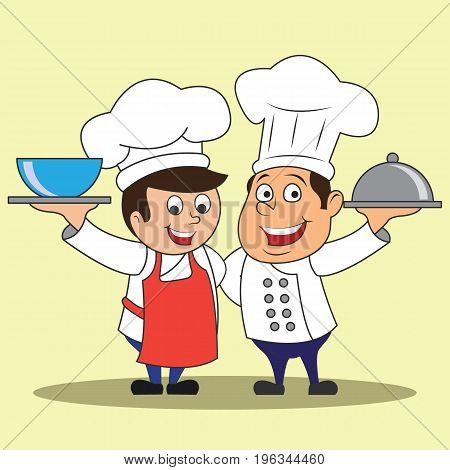 chef men with the toque holding a dish ready to serve. cartoon character. vector illustration