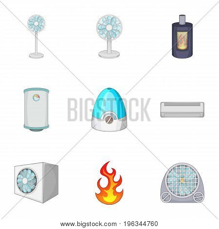 Ventilation icons set. Cartoon set of 9 ventilation vector icons for web isolated on white background