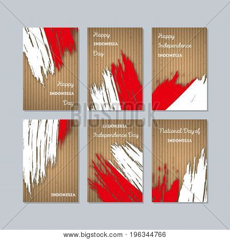 Indonesia Patriotic Cards For National Day. Expressive Brush Stroke In National Flag Colors On Kraft