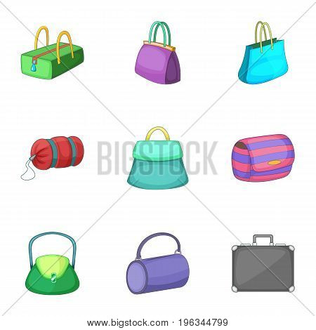 Various types of bags icons set. Cartoon set of 9 various types of bags vector icons for web isolated on white background