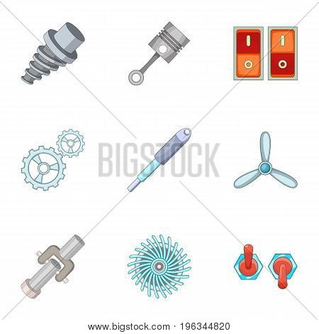 Car parts icons set. Cartoon set of 9 car parts vector icons for web isolated on white background