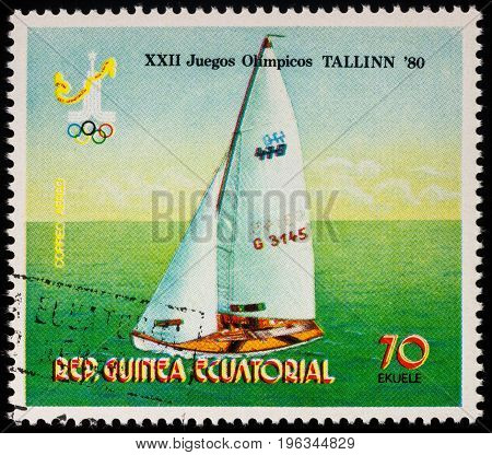 Moscow Russia - July 20 2017: A stamp printed in Equatorial Guinea shows yachting race series