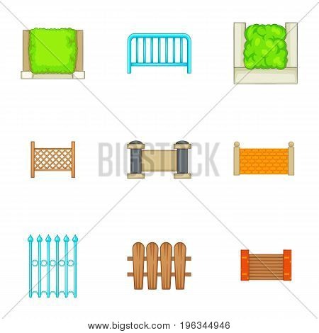 Different seamless fence icons set. Cartoon set of 9 different seamless fence vector icons for web isolated on white background