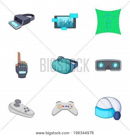 Virtual reality equipment icons set. Cartoon set of 9 virtual reality equipment vector icons for web isolated on white background