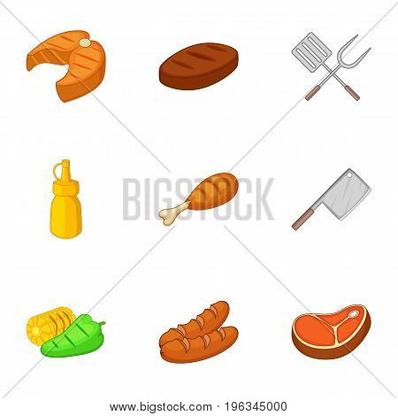 Fried food with kitchenware icons set. Cartoon set of 9 fried food with kitchenware vector icons for web isolated on white background