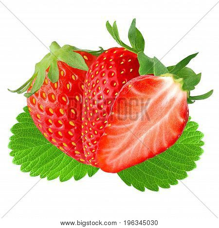 Isolated fruits. Two and half Strawberry with leaf isolated on white background as package design element.