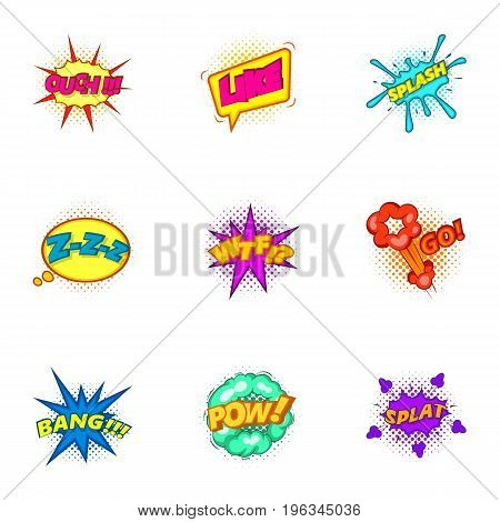Explosive stickers icons set. Cartoon set of 9 explosive stickers vector icons for web isolated on white background