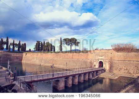 The Fortress and the external fortifications of Peschiera del Garda on Lake Garda Veneto Italy.