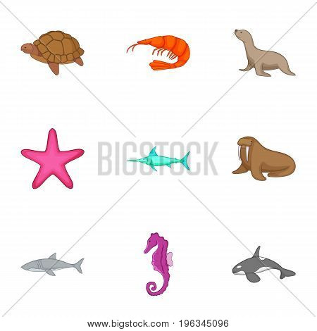Marine animals from red book icons set. Cartoon set of 9 marine animals from red book vector icons for web isolated on white background