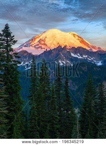 Mount Rainier At Sunrise In Mount Rainier National Park, Washing