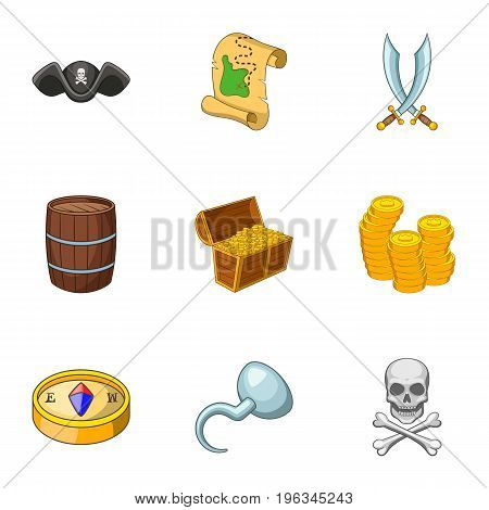 Pirate adventure icons set. Cartoon set of 9 pirate adventure vector icons for web isolated on white background