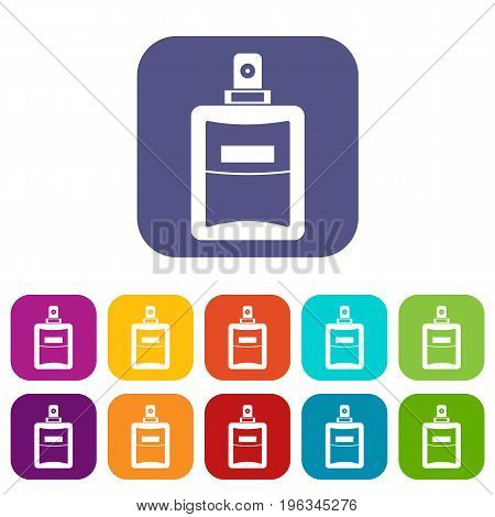 Perfume icons set vector illustration in flat style in colors red, blue, green, and other