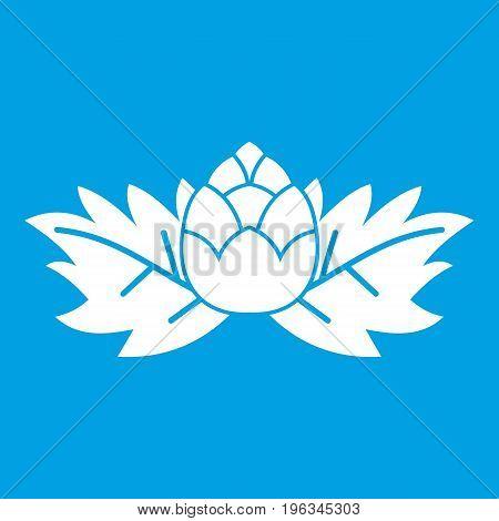Hops icon white isolated on blue background vector illustration