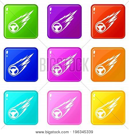 Falling meteor with long tail icons of 9 color set isolated vector illustration