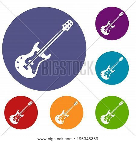 Classical electric guitar icons set in flat circle red, blue and green color for web