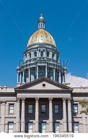 landmark colorado state capitol building dome and portico of beaux arts architecture in denver