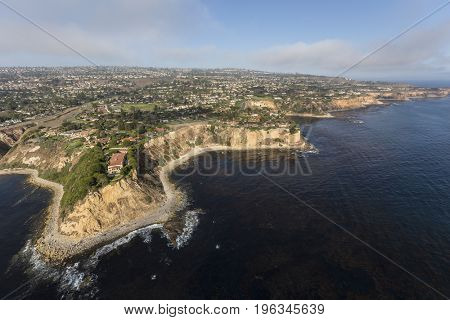 Southern California coast aerial view of Rancho Palos Verdes in Los Angeles County.