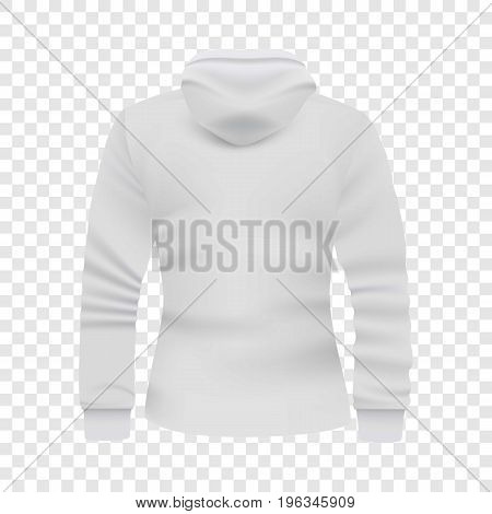 White hoodie back view mockup. Realistic illustration of white hoodie back view vector mockup for web
