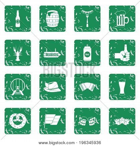 Oktoberfest icons set in grunge style green isolated vector illustration