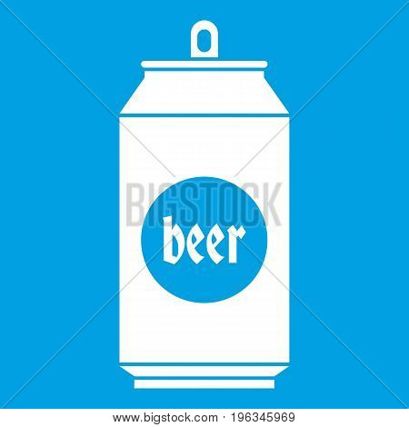 Beer in aluminum cans icon white isolated on blue background vector illustration