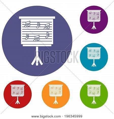 Whiteboard with music notes icons set in flat circle red, blue and green color for web