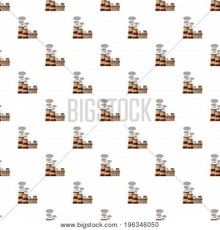 Plant produces smoke from chimneys pattern seamless repeat in cartoon style vector illustration
