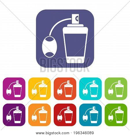 Retro perfume icons set vector illustration in flat style in colors red, blue, green, and other