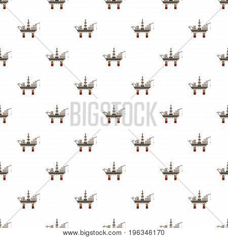 Oil rig at sea pattern seamless repeat in cartoon style vector illustration
