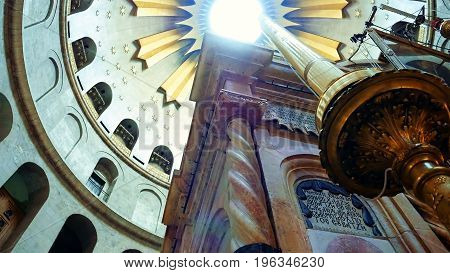 Jerusalem, Israel - May 25, 2017: Dome over Jesus Christ empty tomb and rotunda in Jerusalem in the Holy Sepulcher Church. The Church and Empty Tomb the most sacred places for all religious Christians