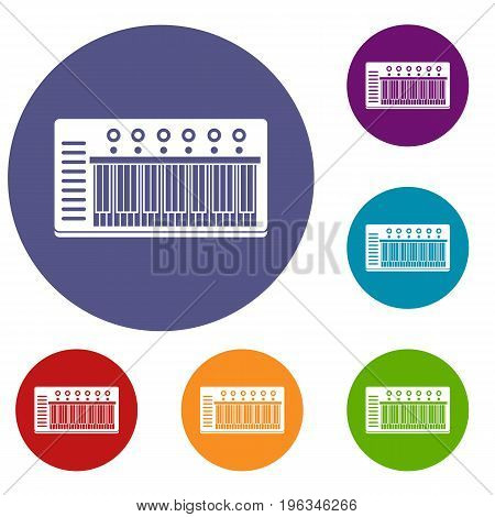 Electronic synth icons set in flat circle red, blue and green color for web