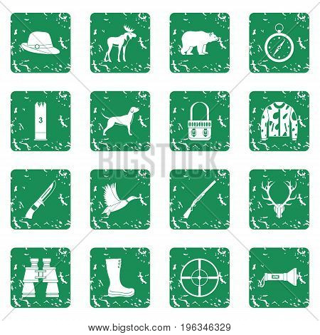 Hunting icons set in grunge style green isolated vector illustration